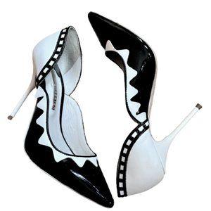 Sophia Webster retro 80s vibes geometric  black & white heels pumps